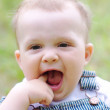 Funny baby age of 9 months outdoors — Stock Photo