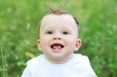 Portrait of lovely baby age of 9 months outdoors — Stock Photo