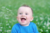 Portrait of happy smiling baby outdoors — Stock Photo
