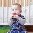 Baby with teething toy — Stock Photo