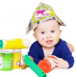Lovely baby painter with paints age of 6 months — Stock Photo