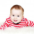 Baby in red striped t-shirt on white background — Stock Photo