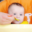 Stock Photo: Five-months baby is fed by puree by spoon