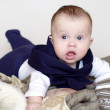 Baby age of 4 months is going to walk — Stock Photo