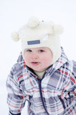 Portrait of warm dressed baby in winter — Stock Photo