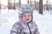 Happy baby in winter — Stock Photo