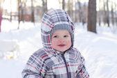 Happy baby in winter — Stock Photo