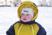 Portrait of warm dressed baby in winter — Foto de Stock
