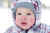 Portrait of 15 months baby in winter — Stockfoto