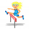 Stock Photo: Girl overjumps hurdle