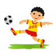 Boy playing football — Stock Photo