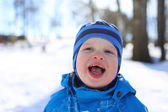 Portrait of funny baby in winter — Photo