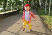 Happy baby boy running outdoors — Stock Photo