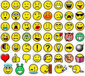 Classic retro style 54 smiley icons — Stock Photo