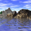 Abstract mountainous little island in se(digitally rendered) — Stock Photo #33714359