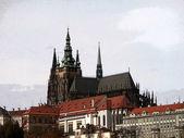 Prague castle, colorized — Stock Photo