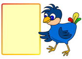 Little bird pointing to message board — Stockvector