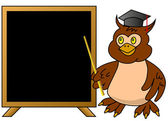Wise owl teacher with blackboard — Vettoriale Stock