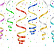 Confetti and serpentines, party curled streamers — Stock Vector