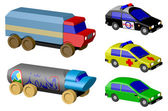 Toy cars isolated on white background, rendered — Zdjęcie stockowe