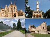 Collage of landmarks of Lednice in Moravia — Stock Photo