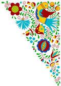 Moravian folk bird ornament — Stock Vector