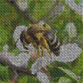 Bee on flower image knit generated texture or background — Stock Photo