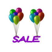 Inscription sale flying on balloons — Stock Vector