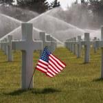 American flag on omaha beach cemetery — Stock Photo