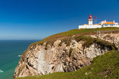 Lighthouse on top of hill in Cabo da Roca — Foto Stock
