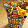 Stock Photo: Basket of Plush Animal Toys