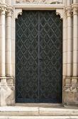 Black Iron Cathedral Door — Stock Photo