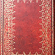 Stock Photo: Gold Patterned Red Leather Diary Backdroung