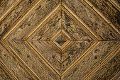 Golden Diamond Pattern wooden Door Detail Background — Stock Photo