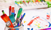 Colourful Paint Brushes with Paints in Background — Стоковое фото