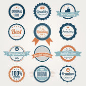Collection of Retro Premium Quality Labels — Stock Vector