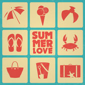 Vintage summer poster with icons - Retro colors — Stock Vector