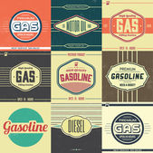 Collection of Retro Gasoline Signs — Stock Vector