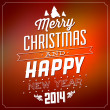 Christmas Typographic Background - Merry Christmas And Happy New Year — Stock Photo