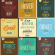 Stock Photo: Set Of Vintage Typographic Backgrounds - Motivational Quotes - Retro Colors With Calligraphic Elements