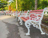 Iron park benches — Foto Stock