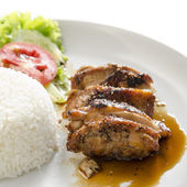 Teriyaki chicken with rice — Stock Photo
