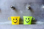 Colorful smiley cups — Stock Photo