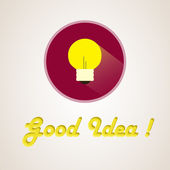 Flat light bulb idea — Vector de stock