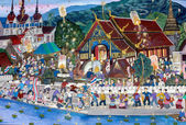 Loy Kratong Festival in thai temple mural — Stock Photo
