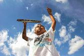 Boy and Badminton sport — Stock Photo