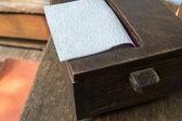 Wood box of tissue — Stock Photo