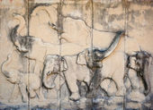 Stone carved elephant on the temple wall. Architecture, which is — Stock Photo