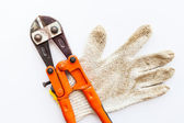 Wrench and gloves — Stock Photo