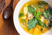Thai food, Kang liang, Shrimp mushhroom and vegetable on table — Stock Photo